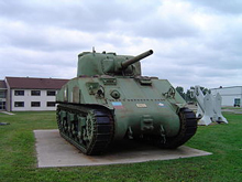 Photo of the Sherman tank displayed outside of Waterloo Officers' Mess at CFB Borden