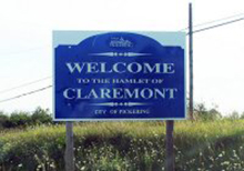 A photo of a city sign in Claremont, Ontario
