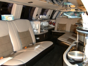 Inside a stretched limo