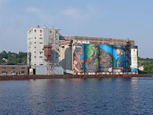 Millennium mural by the harbour in Midland Ontario