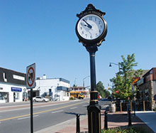 A photo of the town clock in Pelham, Ontario